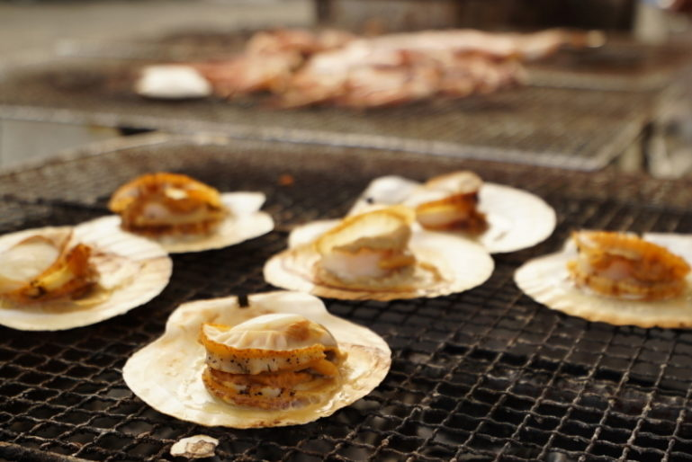 Iwanai Town Dotou Matsuri Summer Festival Hotate Grill Scallops Food