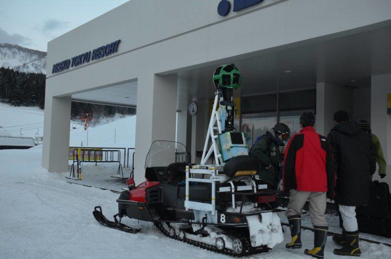 Google snowmobile in Niseko capturing Street View images