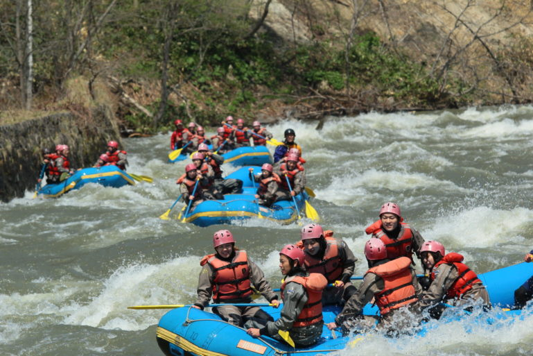 Water rafting on the Shiribeshi River.