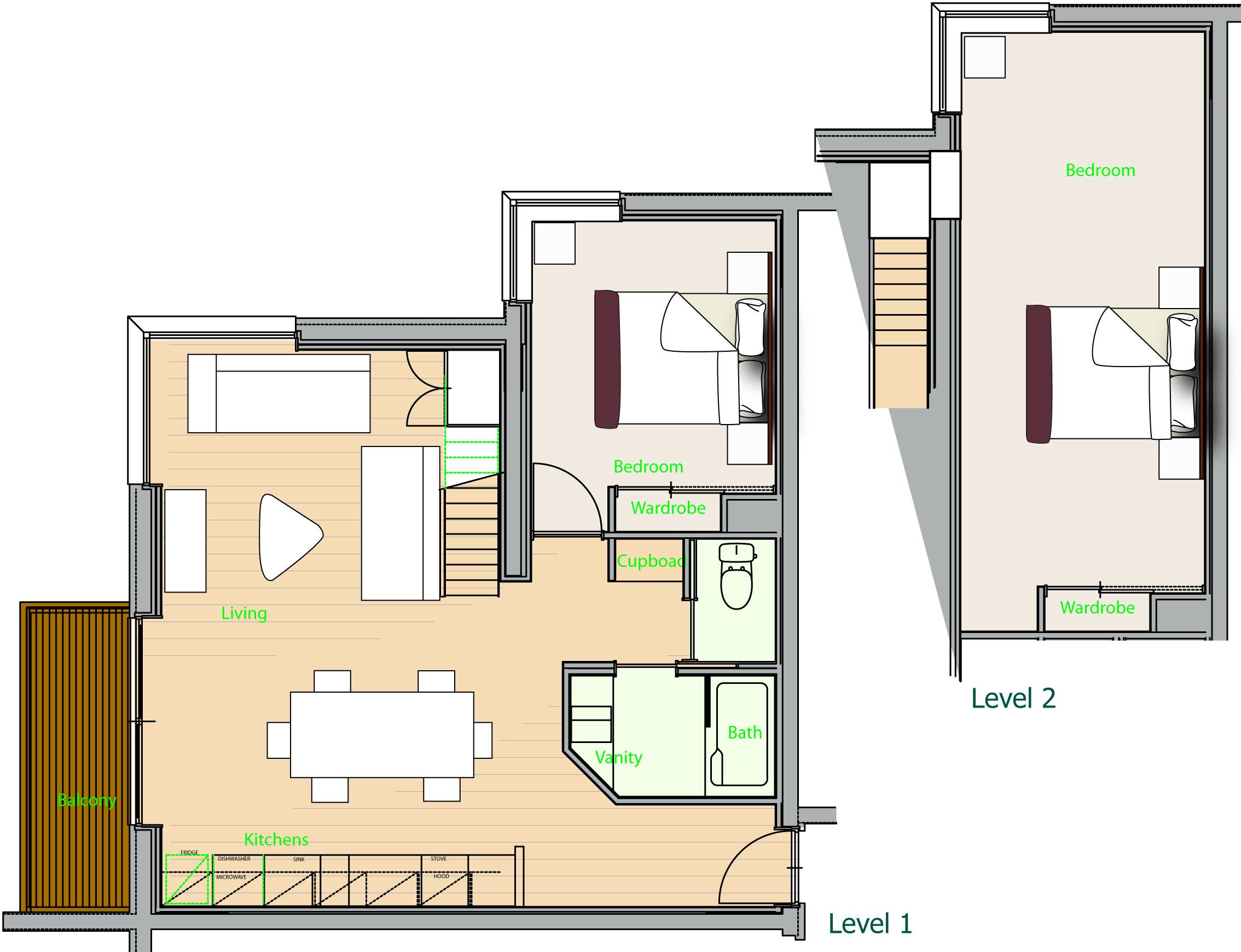 2 bedroom condo deep tracks niseko central view floor plan indicative
